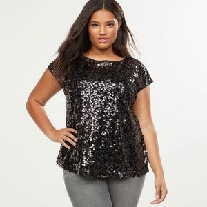 NWT Lane Bryant Black Sequin Front Short Sleeve Top in Plus Size 28